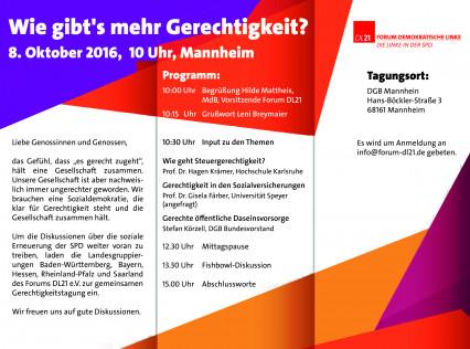 Flyer der Gerechtigkeitskonferenz der  DL21 in Mannheim